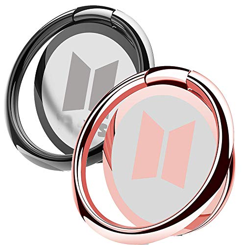2 Pack Phone Ring Holder Finger Kickstand Universal 360° Rotation Metal Ring Grip for Magnetic Car Mount Compatible with All Smartphone(Grey&Rose)