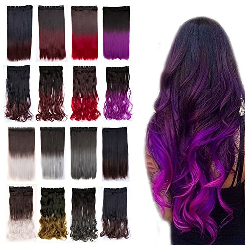 23 inch Curly Clip in Hair Extensions Two Tones Ombre Hair Hairpiece For Party Wedding (Dark Brown to Dark Purple) (Hair Extensions Brown To Purple)