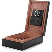 Cigar Humidor, MEGACRA Leather Surface Cedar Wood Lined Humidor with Hygrometer and Humidifier, Hold 10-20 Cigars