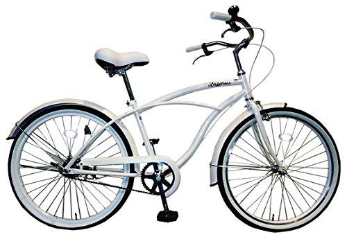 Lupinusルピナス 自転車 26インチ LP-26NBN ビーチクルーザー 極太タイヤ ワイドサドル 100%完成車 B00LJB0X10 ホワイト ホワイト