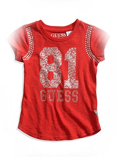 GUESS Kids Girls Little Girl '81' Rhinestone Logo Tee, Red L (6X)
