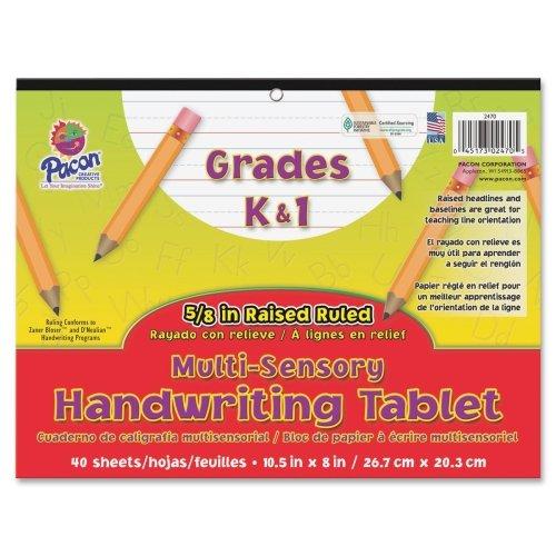 Wholesale CASE of 25 - Pacon Grade K-1 Multi-sensory Handwriting Tablet-Sensory Writing Tablet, 8''x10-1/2'', 40Shts/PK, White by PAC