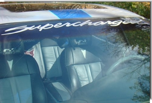 SUPERCHARGED Windshield Banner Decal - Grand Prix, Regal, Monte Carlo - (Color: Gloss White)