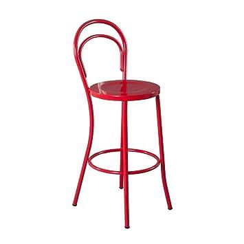 WYDM Tabouret De Bar Rouge Chaise Haute Comptoir En Fer Forge