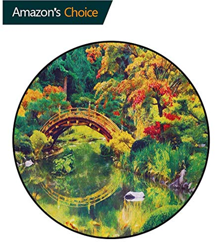 - RUGSMAT Country Non-Slip Area Rug Pad Round,Fairy Image of A Japanese Garden with an Old Ancient Bridge The Lake Nature Print Protect Floors While Securing Rug Making Vacuuming,Round-71 Inch
