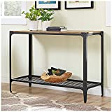 Cheap Walker Edison Angle Iron Rustic Wood Console Table in Barnwood