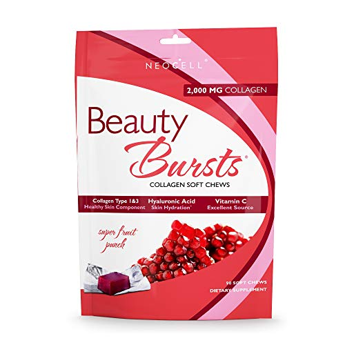 - NeoCell - Beauty Burst - Super Fruit Punch - 2, 000mg Collagen Type 1&3 + Hyaluronic Acid & Vitamin C for Strong & Hydrated Hair, Skin, Nails; Gluten-Free, Soy-Free - 90 Soft Chews