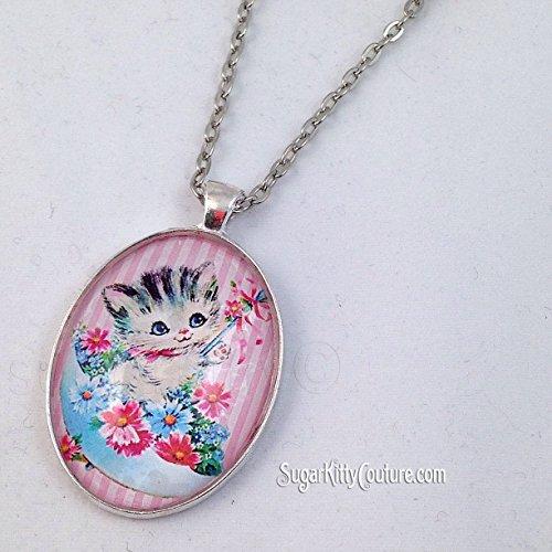 [Vintage Graphics Baby Animal Cameo Pendant Necklace - Teddy Bear Kitten - Bright Silver] (Kitten Bear Costume)