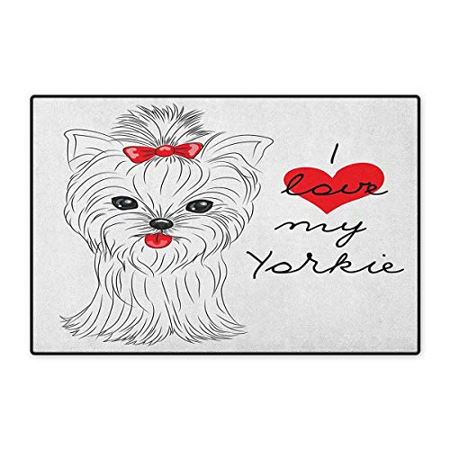 Yorkie,Door Mats for Home,I Love My Yorkie Cute Terrier with its Tounge Out Adorable Yorkshire Terrier,Door Mats for Inside Doorroom Mat Non Slip Backing,Black White Red,Size,20