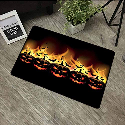 LOVEEO Crystal Velvet Doormat,Vintage Halloween Happy Halloween Image with Jack o Lanterns on Fire with Bats Holiday,Customize Door mats for Home Mat,16