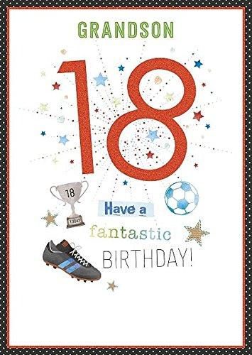 Nieto 18th cumpleaños número 18 con purpurina Tarjeta de ...