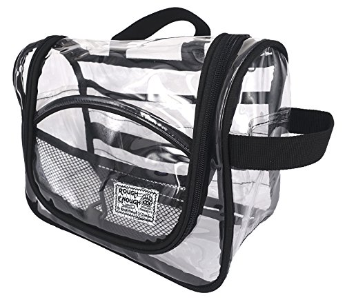 Rough Enough Clear Travel Hanging Toiletry Bag Cosmetic Makeup Pouch for Travel Accessories Luggage Toiletries Storage Organizer for Women Men School Teen Boy Girl Outdoor Trip with Zipper and Hooks