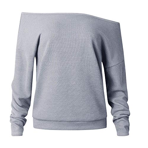 Cold Shoulder Knits Top, Duseedik Fashion Women Knitted Solid Long Sleeve Off Shoulder T-Shirt Tops Sweater Blouse (Gray, S)