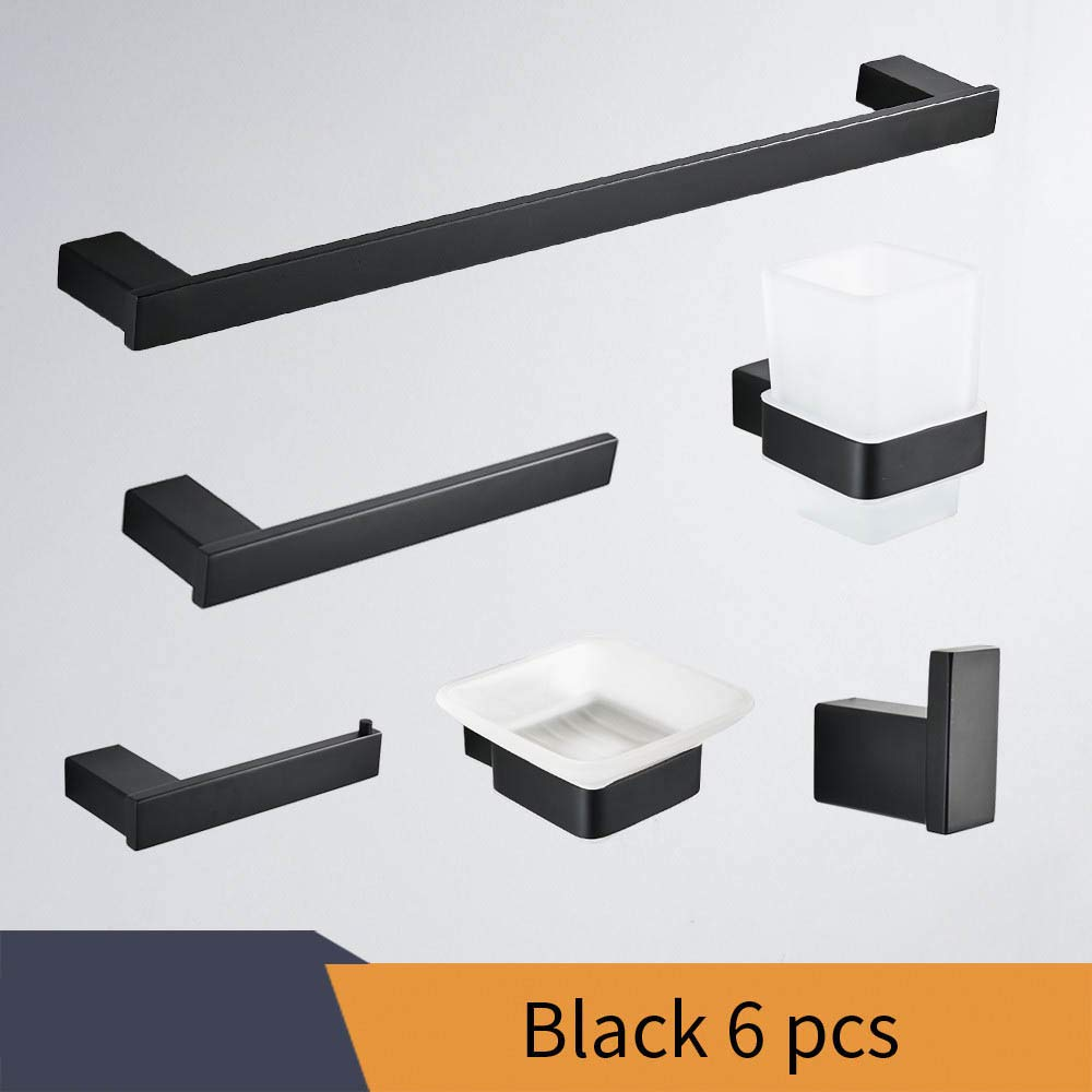 HYKENSOSNG Paper Holders Euro Style Bathroom Accessories Stainless Steel Bath Hardware Set Bathroom Fitting Towel Balck 6 PCS
