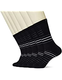 Men's Athletic 6-Pack Stripe Cushion Crew Hiking Performance Running Socks