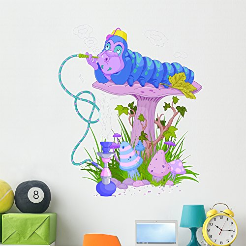 Blue Caterpillar Wall Decal by Wallmonkeys Peel and Stick Graphic (48 in H x 40 in W) WM314133 (Alice Furniture)