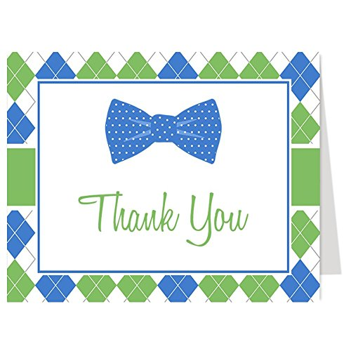 Baby Shower Thank You Cards, Baby Boy, Argyle, Bow Tie, Little Man, Dude, Polka Dots, Navy, Green, Blue, Hipster, Bowtie, Sprinkle, Set of 50 Folding Notes with White Envelopes, Argyle Bowtie