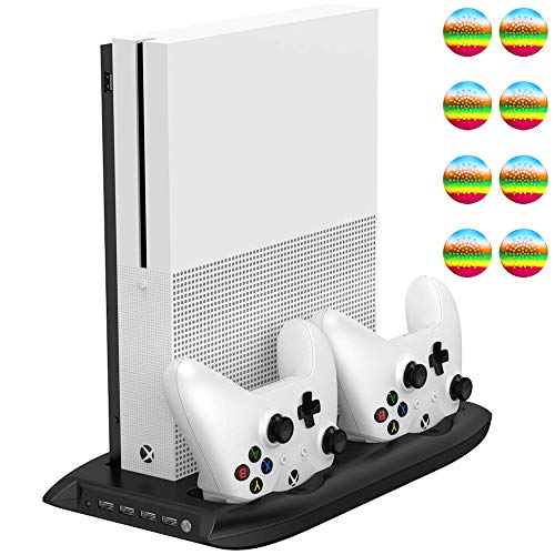 (TPFOON Xbox One S Vertical Stand Cooling Fan with Dual Controller Charging Station and 4-Port USB Hub for Xbox One Slim Console, 8 Thumb Grips Included)