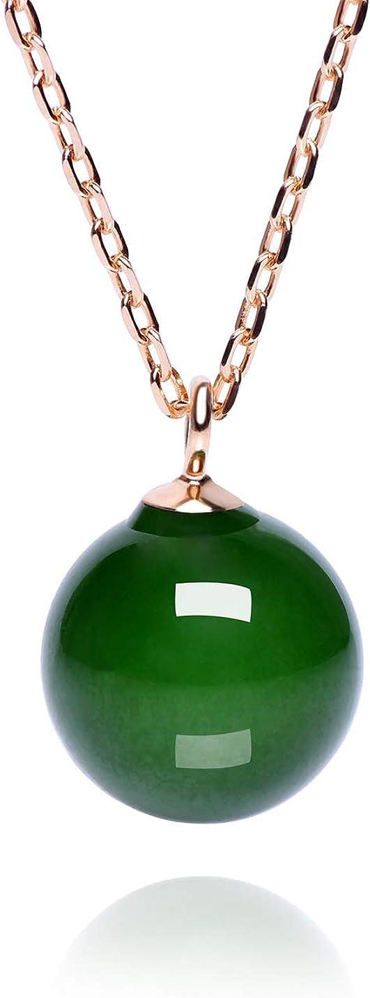 Dalwa - Collar de oro 585 de 14 quilates, de plata de ley 925 con piedra natural, colgante de perla verde ajustable, incluye paquete de regalo