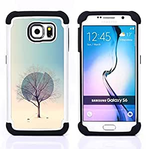 """Samsung Galaxy S6 / SM-G920 - 3 en 1 impreso colorido de Altas Prestaciones PC Funda chaqueta Negro cubierta gel silicona suave (Invierno Esfera profundo Primavera Naturaleza"""")"""