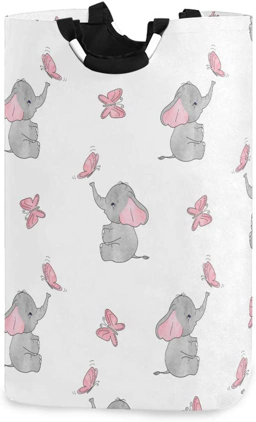 AGONA Cute Elephants Pink Butterflies Laundry Basket with Handles Large Storage Bin Collapsible Fabric Laundry Hamper Foldable Laundry Bag for Kids Room Toy Bins Gift Baskets Bedroom Baby Nursery