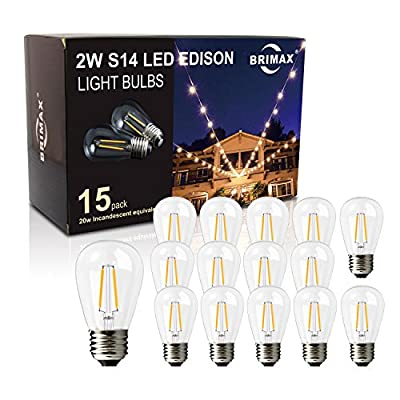 BRIMAX Filament S14 LED Light Bulbs Dimmable Clear Glass, 2700K Warm White 180LM, 2W to Replacement 20W 11S14 Incandescent Edison Bulbs, 120VAC E26 Medium Screw Base Outdoor Lamp