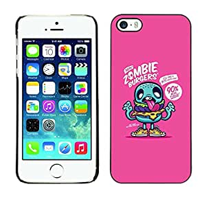 FECELL CITY // Duro Aluminio Pegatina PC Caso decorativo Funda Carcasa de Protección para Apple Iphone 5 / 5S // Teal Cartoon Zombie Funny Zombie