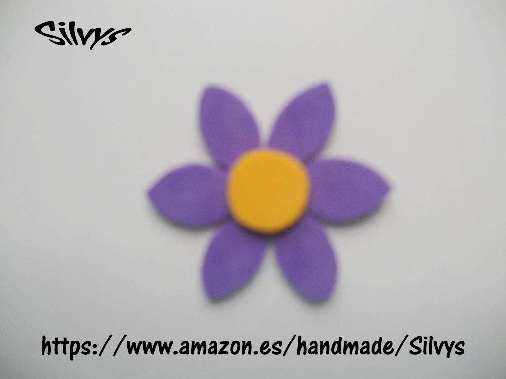 10 Flores de goma eva con 6 petalos color morado oscuro y ...