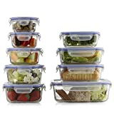 Prestee Premium 18-pc Glass Food Storage Set 9 Glass Bases And 9 Leak-Proof Airtight Snap Latch Plastic Lids - BPA Free - Oven Dishwasher Freezer And Microwave Safe.
