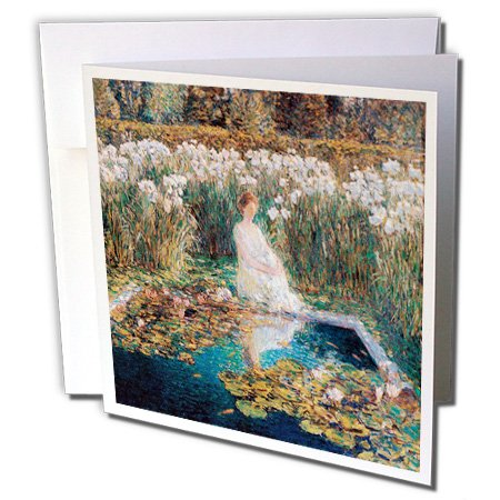 3dRose BLN Beautiful Garden Paintings - Lilies by Childe Hassam, 1910-1 Greeting Card with Envelope (gc_221947_5)