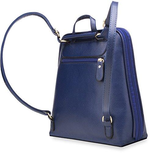 praktische Damentasche Rucksack mit steifem Taschenboden dunkel blau