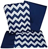 Baby Doll Bedding  Chevron Pillowcase and Sheet set for Crib and Toddler bed, Navy