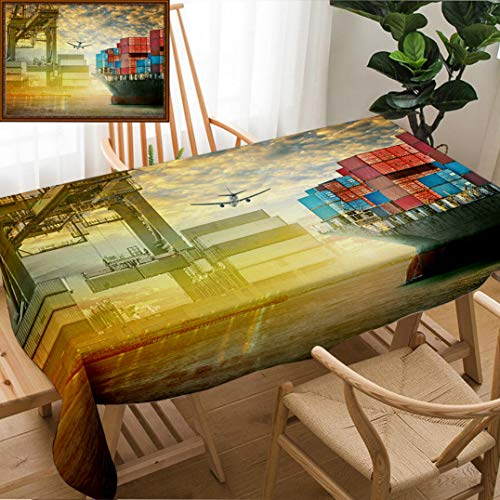 Skocici Unique Custom Design Cotton and Linen Blend Tablecloth Container Cargo Ship and Cargo Plane with Port Crane Bridge in Harbor at Sunset Sky FreightTablecovers for Rectangle Tables, 78