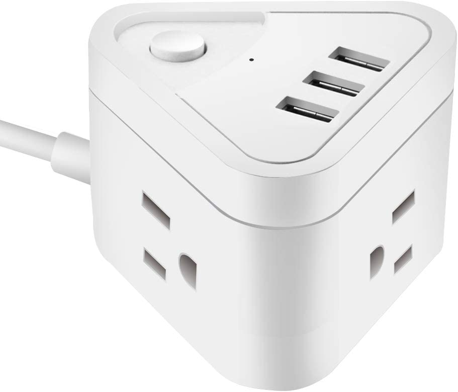 Small Power Strip with 3 USB Ports, 3 Outlet Portable Plug Strip with 5 Feet Extension Cord, Cruise Travel, Desktop Multi-Plug Outlet, Child Protectors Compact Socket, White