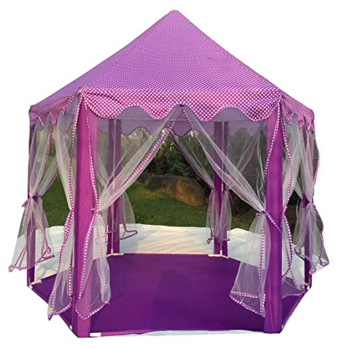 Pericross Hexagon Princess Play Tent with Aluminum Alloy Column Poles, 33ft 100 LED Diodes AA Battery Powered Brass Wire Lights (Violet)