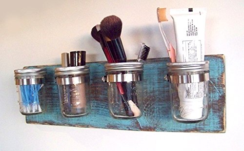 Bathroom Storage by Out Back Craft Shack: Mason Jar Toothbrush Holder - Rustic Teal with dark base from Out Back Craft Shack