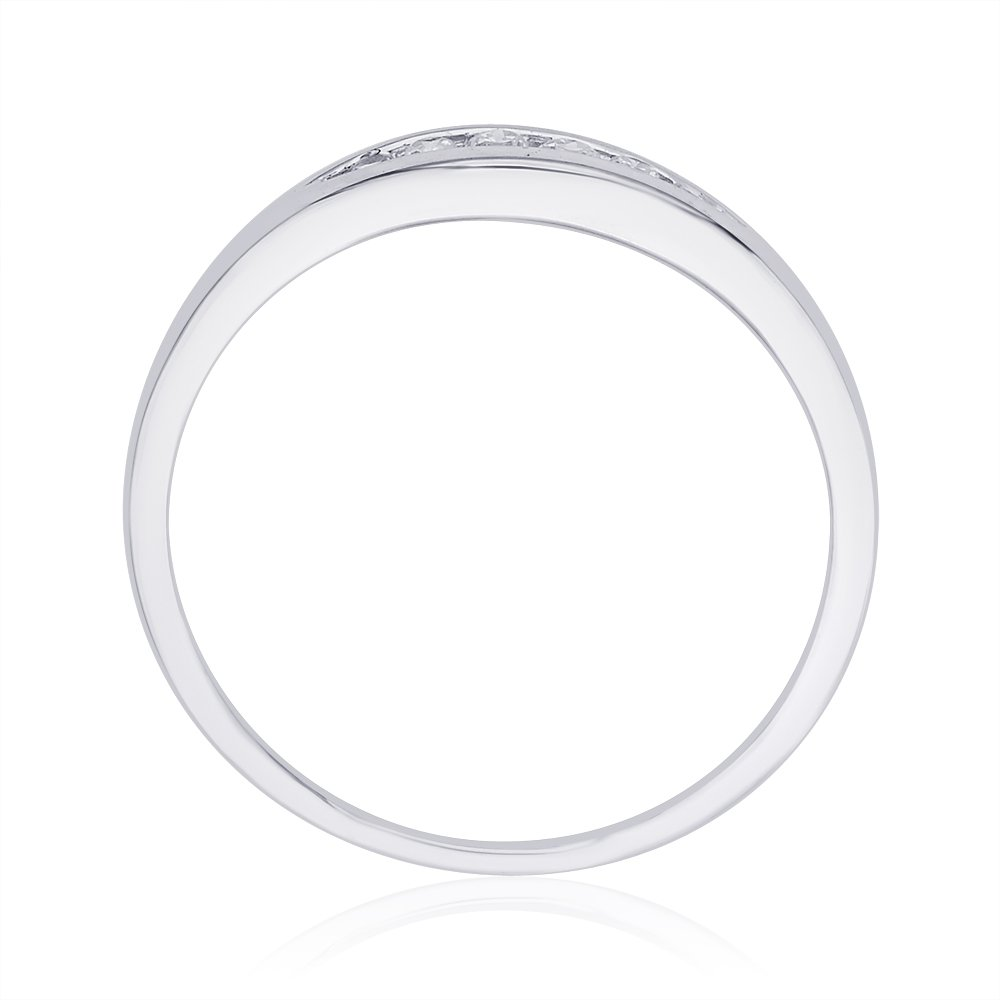1//10 cttw, Diamond Wedding Band in Sterling Silver G-H,I2-I3 Size-8.75