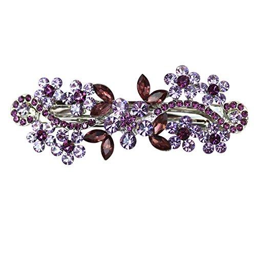 Faship Purple Crystal Flower Hair Barrette Clip - Purple