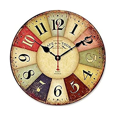 SKMEI GZ-034 Tuscan Style Non-Ticking Silent Wood Wall Clock, 12-Inches