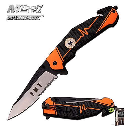 SPRING-ASSIST FOLDING POCKET KNIFE Mtech Orange Black EMT Paramedic Rescue EDC Knife + Free eBook by SURVIVAL STEEL