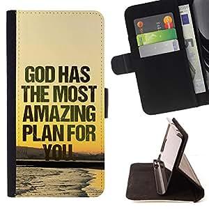 KingStore / Leather Etui en cuir / Apple Iphone 4 / 4S / BIBLIA Dios tiene el plan más asombroso para usted