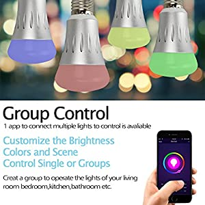 Naisidier Smart LED Bulb Wi-Fi LED Light Bulb, Multicolored PH505 Dimmable LED Bulb 600LM (5.5W) Smartphone Controlled Daylight & Night Light, Working with Amazon Echo & Alexa