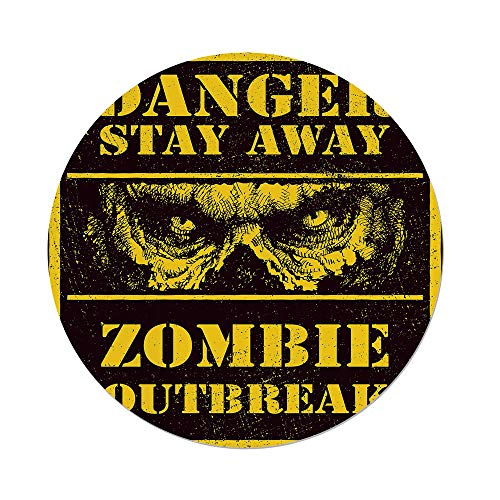 (Polyester Round Tablecloth,Zombie Decor,Danger Stay Away Outbreak Message Monster Warning Sign Graphic Decorative,Chestnut Brown Yellow,Dining Room Kitchen Picnic Table Cloth Cover,for Outdoor Indoor)