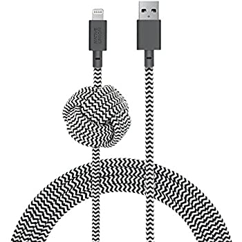Native Union NIGHT Cable - 10ft Ultra-Strong Reinforced [Apple MFi Certified] iPhone / iPad Lightning to USB Charging Cable with Weighted Knot (Zebra)
