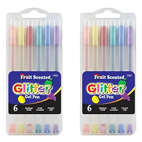 BAZIC 6 Fruit Scented Glitter Color Gel Pen with Case, 2 Pack, Total 12.