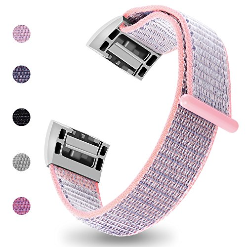 iGK Nylon Replacement Bands Compatible for Fitbit Charge 2, Premium Woven Nylon Adjustable Replacement Bands Breathable Sport Strap with Metal Connector Pink Small