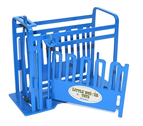 (Little Buster Toys Squeeze Chute - Priefert Squeeze Chute with Sliding Gates in Blue, 1/16th Scale)