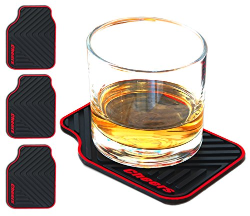 Janazala ARTORI Silicone Drink Coasters, Funny Gift For Men, Dad, Women, Mom, Chrismase Gifts For Brother, Sister, Friend, Car Lovers, Black, Set 4 (Car Mat)