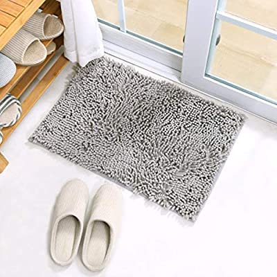"X•SOAR-Shaggy Bathroom Rug Mats,Comfortable and Absorbent Mats,Machine Wash Fast Dry,Bath Mats for Tub,Shower,and Bath Room Non Slip Gray Bathroom Rug (16""×24"" inch, Light Grey) - COMFORT:The height of the fibers:2cm.The density and plushness of our pile surpasses that of most other brands.You can enjoy superior comfort when you step out of shower .When your feet on this bathroom mat ,It will pamper your feet . WELL ABSORBENT: The water on this bath mat dries quickly because of the densely fibers,It also can keeping away from any mildew or moldy, spruce up your room for maximum serenity and warmth. NON-SLIP:This bath mats bottom is Latex Anti-Slip bottom ,It is not easily to move . Place rug on CLEAN DRY SMOOTH FLOOR only. Water under rug can cause it to slip. Keep bottom of rug dry. - bathroom-linens, bathroom, bath-mats - 51vgjlHrsqL. SS400  -"