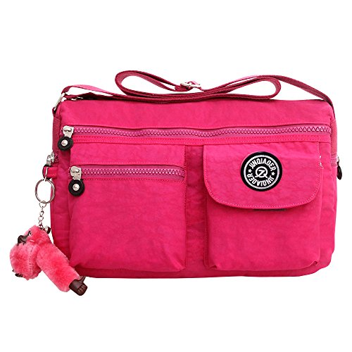 Handbag Nylon Crossbody New Black Shoulder Women Hot Fashion Small Satchel Bags Zip Pink Wiwsi 4aXqpW